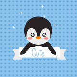 cute penguin animal ribbon shiny background vector illustration