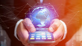 Businessman using smartphone with a Connected network over a earth globe concept on a futuristic interface - 3d rendering