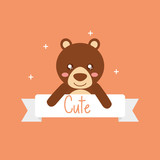 cute animal bear ribbon shiny background vector illustration