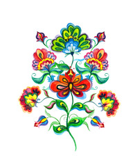 Slavic folk art flowers. Watercolor fairy motif - Eastern european hand crafted floral ornament