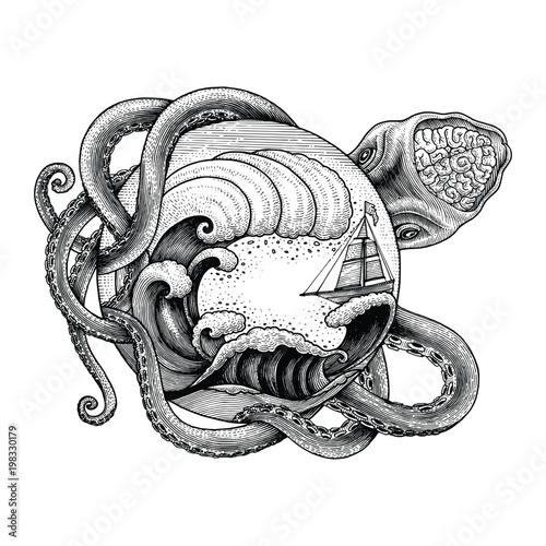 Gigantyczny ośmiornica atakuje statek i duża fala oceanu ręka rysuje rocznika rytownictwa ilustrację dla tatuażu