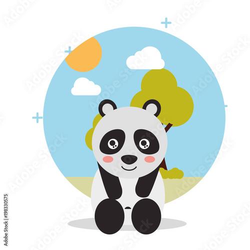 Fotobehang Zoo cute panda sit with landscape trees natural vector illustration