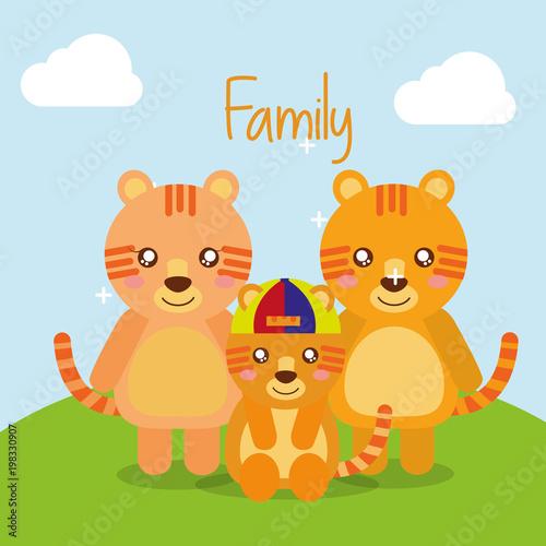 słodkie zwierzęta tygrysy rodzina w ilustracji wektorowych pole krajobrazu