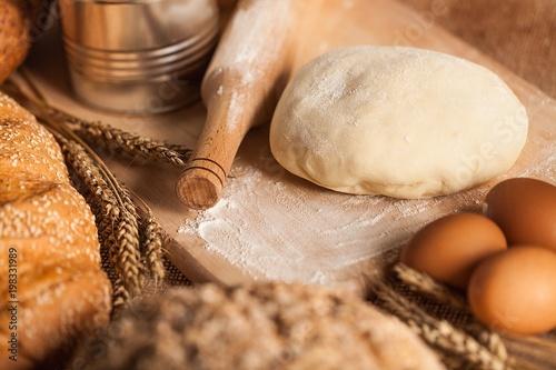 Fototapeta Bread Dough with Ingredients