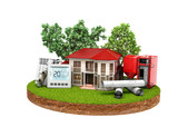 concept of energy saving house on a piece of land near wood boiler batteries thermostat temperature controller 3d render on white no shadow - 198337917