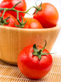 Fresh vine tomatoes in a bowl on the table