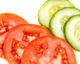 Tomato Cucumber Salad Represents Freshness Ripe And Lettuce