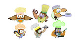 Funny owls, set on a chef theme, on an isolated background