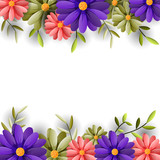 Vector illustrator spring background with beautiful flowers
