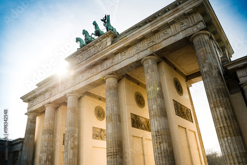 Canvas Berlijn Brandenburg Gate (Brandenburger Tor), famous landmark in Berlin, Germany,rebuilt in the late 18th century as a neoclassical triumphal arch