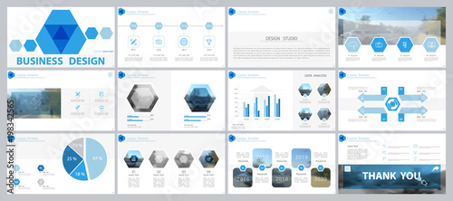 Blue, gray elements for infographics on a white background.Best set of presentation templates. Use in the presentation,flyer and postcard,corporate report,marketing,advertising,annual report,banner © VASYL