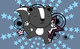 cute baby skunk jumping cartoon background in vector format very easy to edit