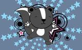 cute baby skunk jumping cartoon background in vector format very easy to edit