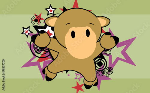 Fototapeta cute baby camel jumping cartoon background in vector format very easy to edit