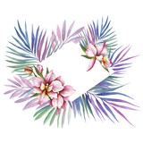 Frame with Orchids. Hand draw watercolor illustration. - 198361761