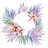 Frame with Orchids. Hand draw watercolor illustration.