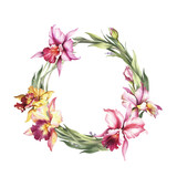 A wreath  of  Orchids. Hand draw watercolor illustration.
