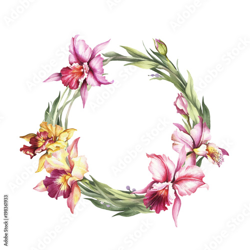 A wreath  of  Orchids. Hand draw watercolor illustration. - 198361933