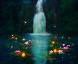 Waterfall and lilies