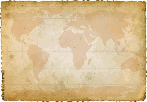 Fototapeta world map on old sheet of paper