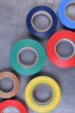 Multicolored insulating tapes top view - 198376774