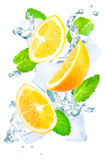Flying Orange slices water splashes, ices and mint leaves