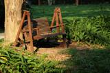 wooden bench in garden - 198399520