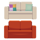 comfortable couch isolated on white background - 198401377