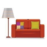 comfortable couch with lampshade isolated on white background - 198401387