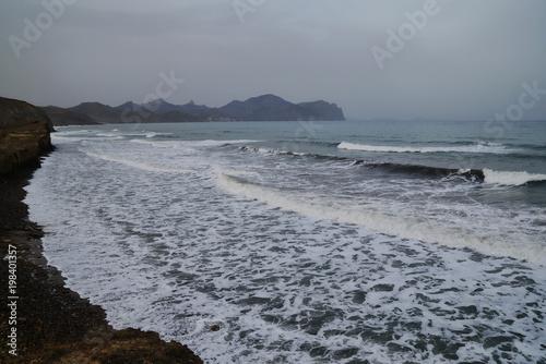 Plexiglas Grijs Landscape with stormy sea in cloudy weather