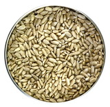 Heap of hulled sunflower seeds, on white background - 198402398