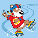 Animal ice skate cartoon. Eps 10
