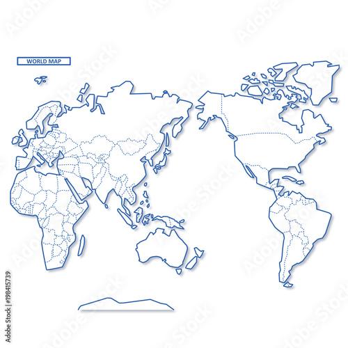 Fotobehang Wereldkaarten セカイ地図 シンプル白地図