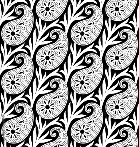 Materiał do szycia black and white paisley pattern