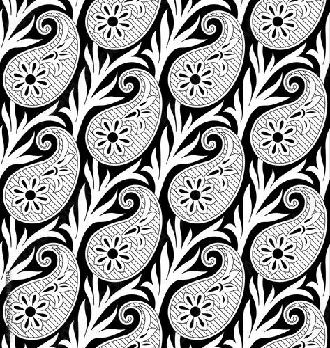 Cotton fabric black and white paisley pattern
