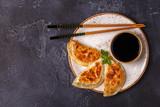 Plate of asian gyoza, dumplings snack.