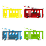 Trolleybus sign. Vector. Yellow, red, blue, green icons with the
