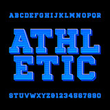 Athletic alphabet vector font. Retro style typeface for labels, titles, posters or sportswear. Type letters and numbers. Stock vector typography.