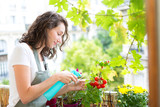 Young woman watering tomatoes on her city balcony garden - Nature and ecology theme - 198428779