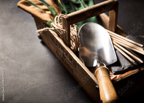 Close up view of gardening tools in box