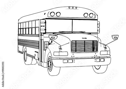 Fototapeta sketch of school bus vector