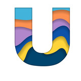 Colorful letter U