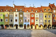 Merchant houses in the Poznan Old Market Square at sunrise, Poland. - 198443575