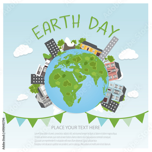 Foto op Plexiglas Lichtblauw Earth day concept background. Globe with buildings and trees. Save our planet. Flat style vector isolated illustration.
