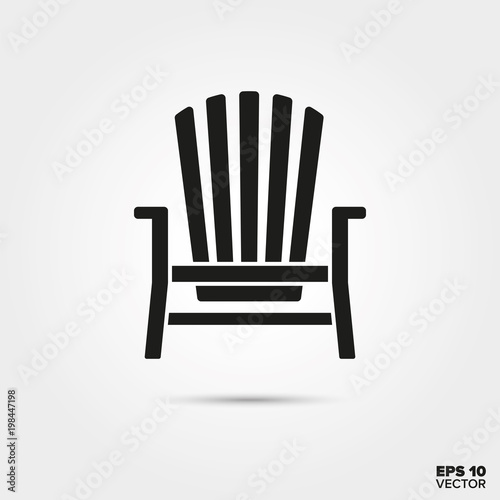 Adirondack deck chair vector icon. Summer vacation and seaside resort symbol.