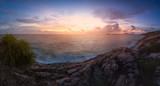 Sunset on sea coast