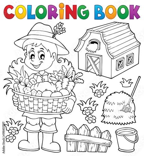 Poster Voor kinderen Coloring book woman farmer theme 1