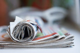 Pile of newspapers. Folded and rolled papers with news, selective focus - 198463558