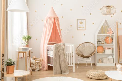 White and pink scandinavian nursery - 198467326