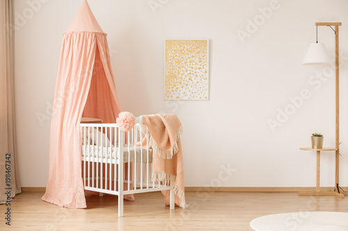 Minimalist nursery with crib